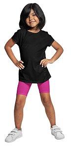 Bermudas Meninas Em Cotton Algodão Rosa Escuro bif1