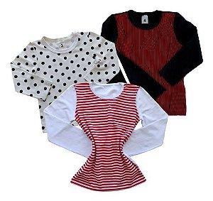 Kit C/ 3! Camiseta Blusa Infantil Menina Manga Longa Bli-7