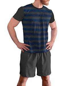 Pijama Masculino Curto Plus Size Tam Grandes Cinza Chumbo pjp11