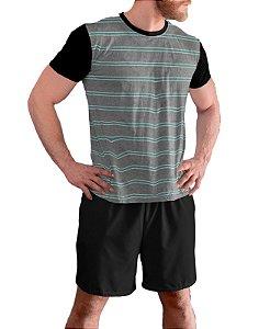 Pijama Masculino Curto Plus Size Tam Grandes Verde Mescla pjp12