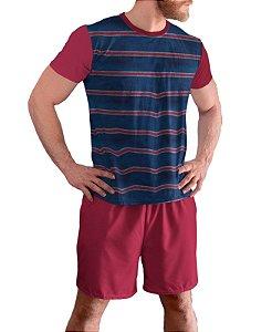 Pijama Masculino Curto Plus Size Tam Grandes Vermelho Mescla pjp12