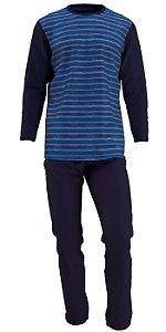Pijama Plus Size Manga Longa Masculino Mescla Azul Petroleo pjp13