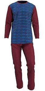 Pijama Plus Size Manga Longa Masculino Algodão Vermelho pjp14
