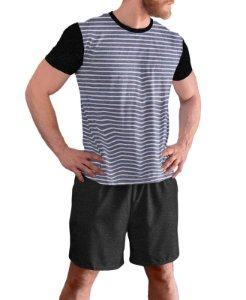 Pijama Masculino Curto Plus Size Tam Grandes Preto Mescla pjp12
