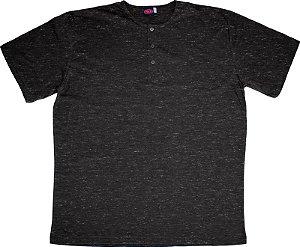 Camiseta Masculina Manga Curta Plus Size Preto Mescla cpp2