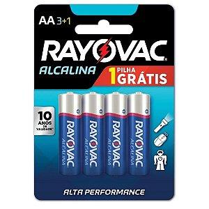Pilha Alcalina Pequena Rayovac - Tamanho AA - com 4 Unidades - 208013