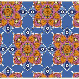 Tecido 100% Algodão Mandala Azul 1,40m x 50cm - Caldeira