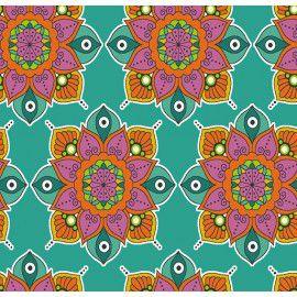 Tecido 100% Algodão Mandala Tiffany 1,40m x 50cm - Caldeira