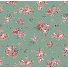 Tecido 100% Algodão Flor Raika Verde Vintage 1,40m x 50cm - Caldeira