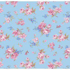 Tecido 100% Algodão Flor Raika Azul 1,40m x 50cm - Caldeira