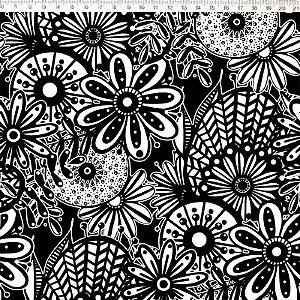 Tecido 100% Algodão Flor Grande Preto/Branco 1,48m x 50cm - Fernando Maluhy
