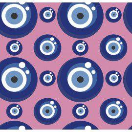 Tecido 100% Algodão Olho Grego Rosa 1,40m x 50cm - Caldeira