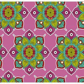 Tecido 100% Algodão Mandala Rosa 1,40m x 50cm - Caldeira