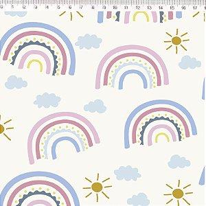 Tecido 100% Algodão Arco Iris Branco Grande 1,48m x 50cm - Fernando Maluhy