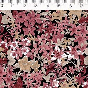 Tecido 100% Algodão Flor Preto 1,48m x 50cm - Fernando Maluhy