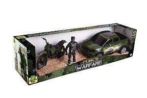 Carro Pick Up Militar com Moto e Boneco Force War 36 Samba