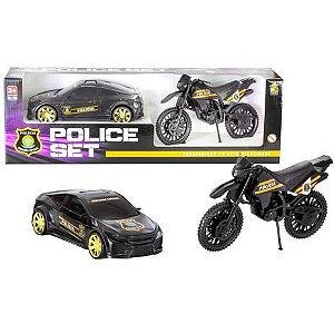 Kit Carro e Moto Police set 306 Bs Toys