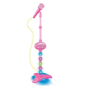 Microfone Infantil com Pedestal Rock Show Rosa DMT5898 Dm Toys