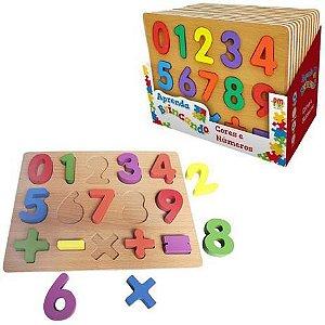 Aprenda Brincando Cores e Números em Madeira DMT5730 Dm Toys