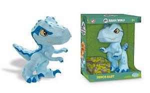 Boneco Jurassic World Dinos Baby Velociraptor Blue 1461 Pupee