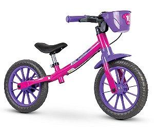 Bicicleta Infantil s/ Pedal Equilíbrio Balance Lilás 02 Nathor