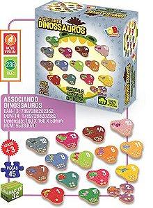 Associando Dinossauros Quebra Cabeça 236 IOB 45 Peças