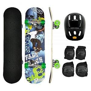 Skate com Kit Proteção Caveira DMR6052 DM Toys