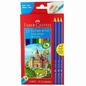 Lápis de Cor LV Faber Castell 12 cores + 3 lápis preto