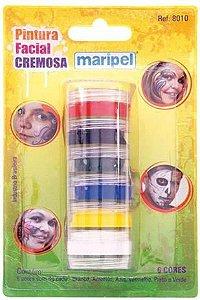 Pintura Facial Cremosa 4gr 8010 com 6 cores Maripel