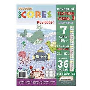 Bloco Eco Cores Textura Visual 3 Pastel 36 folhas Novaprint