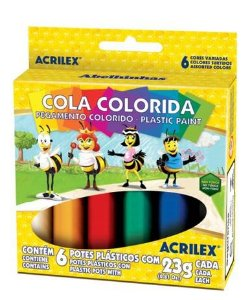 Cola Colorida Acrilex com 6 cores
