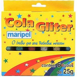 Cola Gliter Maripel com 6 Cores