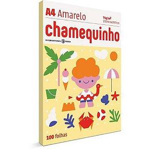Papel Sulfite A4 Colorido Amarelo 100fls Chamequinho