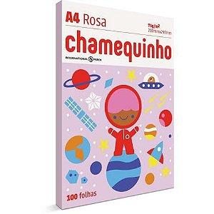 Papel Sulfite A4 Colorido Rosa 100fls Chamequinho