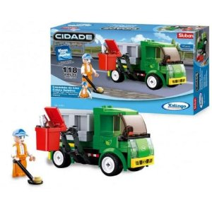 Bloco de Montar Caminhão do Lixo Coleta Seletiva 118 peças 01354 Xalingo