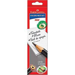 Lápis Preto n°2 Max Sextavado com 12 unidades Faber Castell
