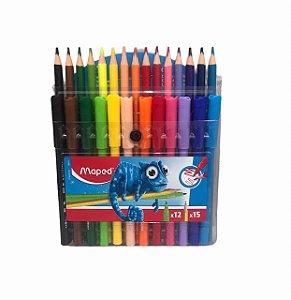 Lápis de cor 15 cores + Caneta Hidrocor 12 cores Maped