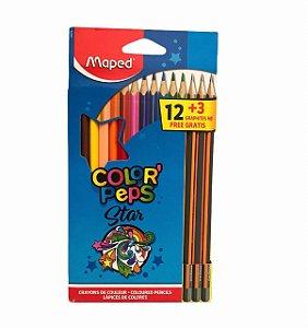 Lápis de cor Color' Peps Star 12 cores + 3 Lápis preto Maped