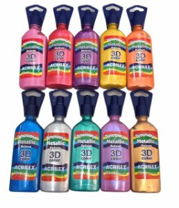 Tinta Dimensional Metallic Relevo 3D Color 35ml Acrilex - Unidade
