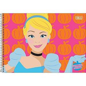 Caderno de Desenho Cartografia 80 folhas Princesas - Tilibra