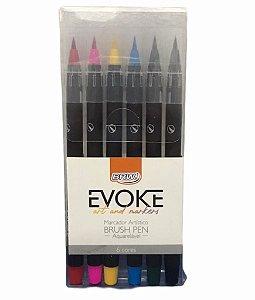 Marcador Artístico Evoke Brush Pen Aquarelável 6 Cores - BRW