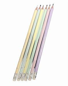 Lápis HB Pastel em Resina Plástica Redondo nº 2 com Borracha BRW - Unidade