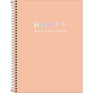 Caderno Universitário 80 folhas Capa Dura Happy Laranja - Tilibra