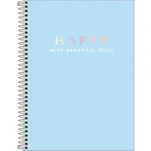 Caderno Universitário 160 folhas Capa Dura Happy Azul - Tilibra