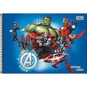 Caderno de Desenho Cartografia 80 folhas Avengers - Tilibra