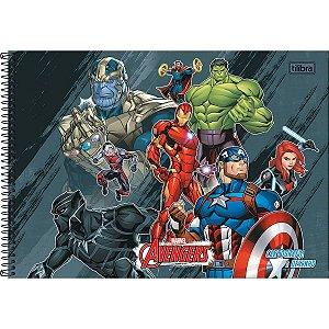 Caderno de Desenho Cartografia 80 folhas Avengers Tilibra
