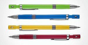Lapiseira Plástica 2,0 com Apontador BRW - Kit com 4