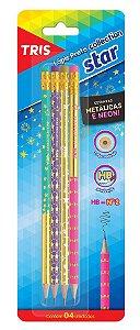Lápis Preto HB N°2 Com Borracha Kit com 4 Unidades Tris