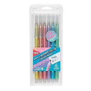 Caneta Hidrocor Mega Color Glitter Tons Pastel - 6 cores - 603216 TRIS