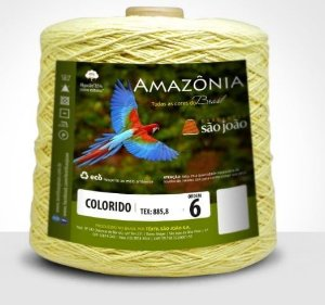 Barbante Amazônia 6 fios Cor 17 Amarelo Bebê 600 Gramas 614 Metros